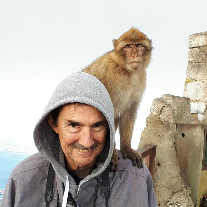 Posing with monkeys